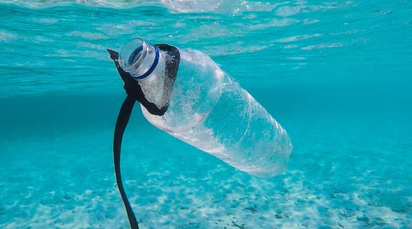 Une bouteille plastique dans l'océan