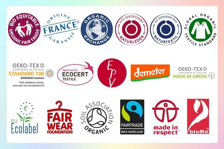 Liste non exhaustive des labels textile